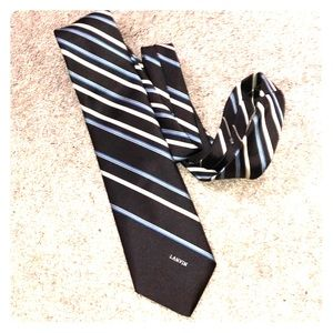 Lanvin striped tie brown blue white necktie